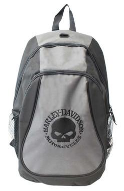 Harley-Davidson Embroidered Willie G Skull Backpack, Black & Gray XBP1536-GRYBLK - Wisconsin Harley-Davidson