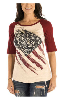 Liberty Wear Women's Patriotic Pride 3/4 Raglan Sleeve Baseball Tee, Oat & Red - Wisconsin Harley-Davidson