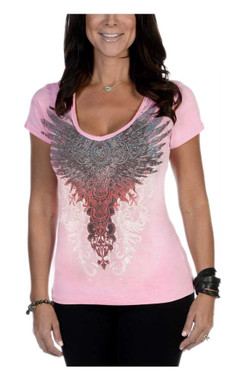 Liberty Wear Women's Lil She Devil Embellished Short Sleeve V-Neck Tee, Pink - Wisconsin Harley-Davidson