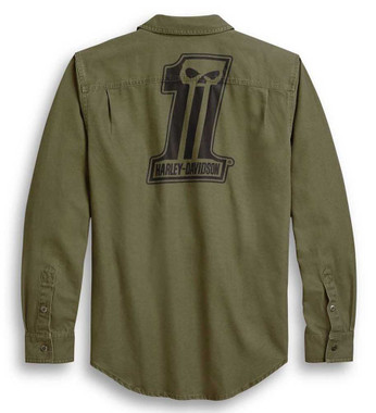 Harley-Davidson Mens Slim Fit #1 Skull Long Sleeve Woven Shirt, Green 96242-20VH - Wisconsin Harley-Davidson