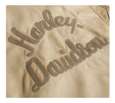 Harley-Davidson Women's Chain Stitched Leather Jacket - Beige 97017-20VW - Wisconsin Harley-Davidson