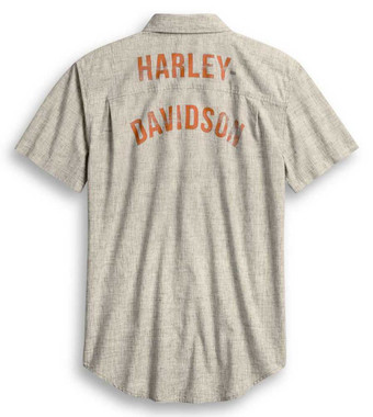 Harley-Davidson Men's Slim Fit Retro Short Sleeve Woven Shirt, Gray 96240-20VH - Wisconsin Harley-Davidson