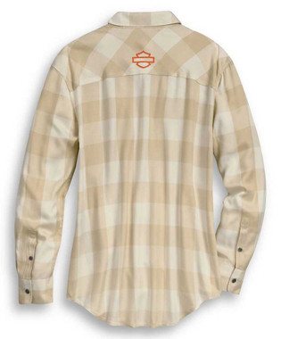 Harley-Davidson Women's Buffalo Plaid Long Sleeve Woven Shirt - Beige 96253-20VW - Wisconsin Harley-Davidson