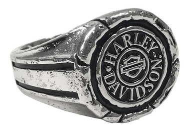 Harley-Davidson Men's Bar & Shield Wax Seal Ring - Sterling Silver HDR0544 - Wisconsin Harley-Davidson
