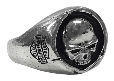 Harley-Davidson Men's Skull Wax Seal Ring - Sterling Silver Finish HDR0546 - Wisconsin Harley-Davidson