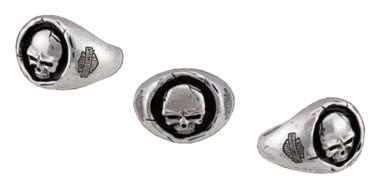 Harley-Davidson Men's Skull Wax Seal Ring - Sterling Silver Finish HDR0546 - Wisconsin Harley-Davidson