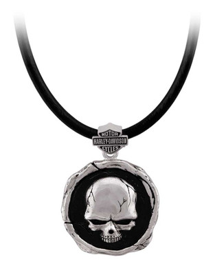 Harley-Davidson Men's Skull Wax Seal Necklace - Sterling Silver Finish HDN0473 - Wisconsin Harley-Davidson
