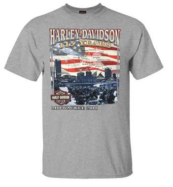 Harley-Davidson Men's 115 Years Milwaukee Map Short Sleeve T-Shirt - Gray - Wisconsin Harley-Davidson