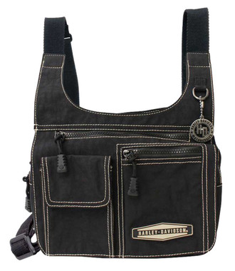 Harley-Davidson Taupe Rally Rubber Patch Crossbody Ride Bag Purse RL7279S-TPEBLK - Wisconsin Harley-Davidson