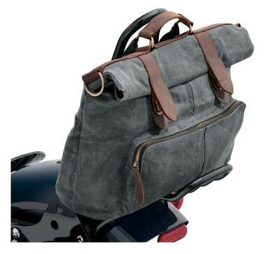 Harley-Davidson Waxed Canvas Messenger Bag, Water-Resistant - Gray 93300116 - Wisconsin Harley-Davidson