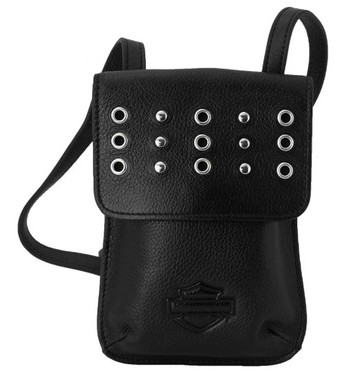 Harley-Davidson Women's Easy Go Genuine Leather Studded Crossbody Purse - Black - Wisconsin Harley-Davidson