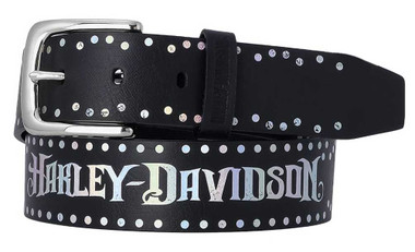 Harley-Davidson Women's Luminess Foiled Genuine Leather Belt, Polished Nickel - Wisconsin Harley-Davidson
