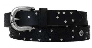 Harley-Davidson Women's Rosetta Embossed Floral Studded Leather Belt - Black - Wisconsin Harley-Davidson