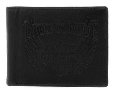Harley-Davidson Men's Ride Away Bi-Fold Leather Wallet w/RFID Protection - Black - Wisconsin Harley-Davidson
