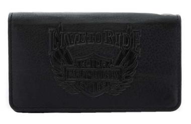 Harley-Davidson Men's Ride Away Trucker Leather Wallet w/RFID Protection - Black - Wisconsin Harley-Davidson