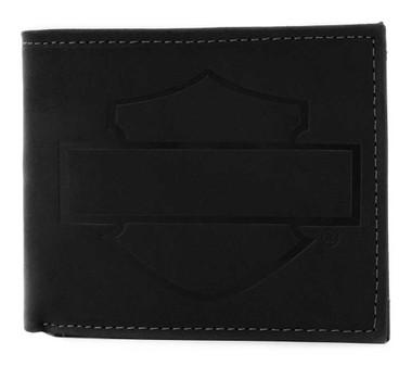 Harley-Davidson Men's Refuel Bi-Fold Leather Wallet w/ RFID Protection - Black - Wisconsin Harley-Davidson
