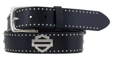 Harley-Davidson Women's Speed Queen Studded Genuine Leather Belt - Black - Wisconsin Harley-Davidson
