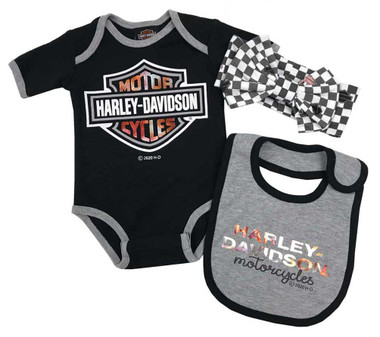 Harley-Davidson Baby Girls' 3-Piece Metallic Infant Creeper Set w/ Hat & Bib - Wisconsin Harley-Davidson