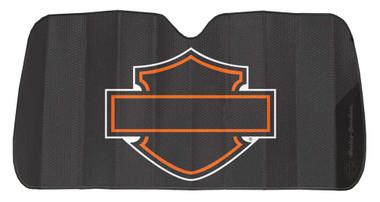 Harley-Davidson Bar & Shield Logo Accordion Auto Sunshade - Matte Black 3948W - Wisconsin Harley-Davidson