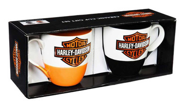 Harley-Davidson B&S Ceramic O'Java Cup Gift Set, 16 oz. - Black/Orange 3MCF4900B - Wisconsin Harley-Davidson