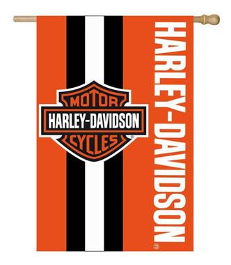 Harley-Davidson Bar & Shield Logo Applique Flag, 28 x 44 inch - Orange 15SF4900 - Wisconsin Harley-Davidson