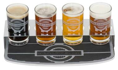 Harley-Davidson Rider Tasting Flight Glass Set w/ Bar Mat & 4 Glasses HDL-18803 - Wisconsin Harley-Davidson