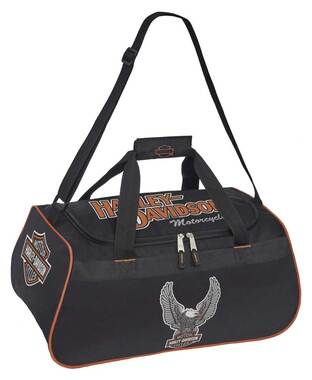 Harley-Davidson Winged Eagle B&S Sports Duffel Bag w/ Adjustable Strap - Black - Wisconsin Harley-Davidson
