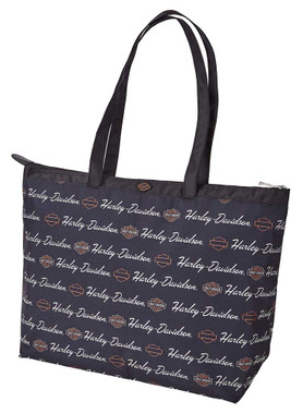 Harley-Davidson Women's Signature B&S Light-Weight Shopper Tote Bag - Black - Wisconsin Harley-Davidson