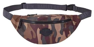 Harley-Davidson Camo Print Bar & Shield Belt Bag, Adjustable Waist Band - Brown - Wisconsin Harley-Davidson