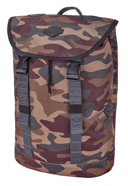 Harley-Davidson Bar & Shield Camo Print Backpack, Drawstring Closure w/ Top Flap - Wisconsin Harley-Davidson