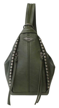 Harley-Davidson Women's Ball & Chain Convertible Leather Backpack - Olive Green - Wisconsin Harley-Davidson