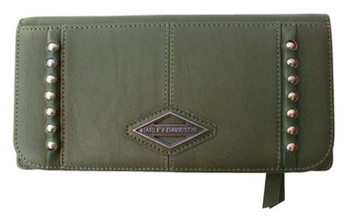 Harley-Davidson Women's Ball & Chain 7 in. Bi-Fold Clutch Leather Wallet - Olive - Wisconsin Harley-Davidson