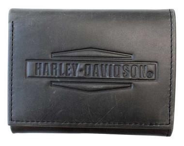 Harley-Davidson Men's Crazy Horse Tri-Fold Leather Wallet MCH8461-GRYBLK - Wisconsin Harley-Davidson