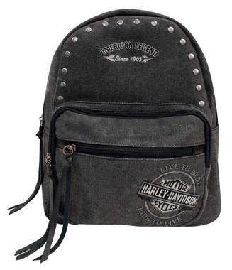 Harley-Davidson Women's B&S Embroidery Distressed Denim Canvas Backpack - Gray - Wisconsin Harley-Davidson
