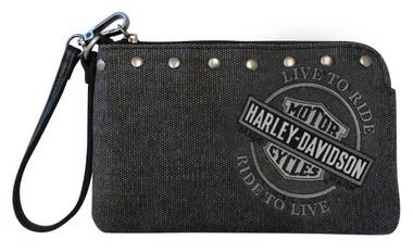 Harley-Davidson Women's B&S Embroidery Distressed Denim Canvas Wristlet Wallet - Wisconsin Harley-Davidson