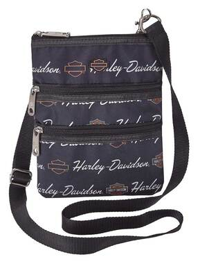 Harley-Davidson Women's Signature Cross-Body Crossbody Sling Purse - Black - Wisconsin Harley-Davidson