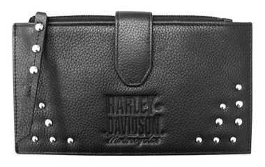 Harley-Davidson Women's Studded Separates Leather Credit Card Wallet - Black - Wisconsin Harley-Davidson