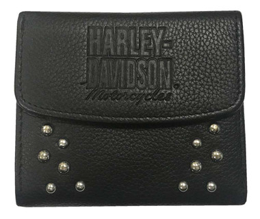 Harley-Davidson Women's 4 in. Studded Separates Leather Taxi RFID Wallet - Black - Wisconsin Harley-Davidson