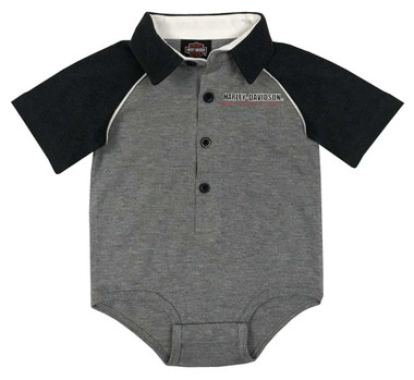 Harley-Davidson Baby Boys' Knit Shop Short Sleeve Infant Shirt Creeper - Gray - Wisconsin Harley-Davidson