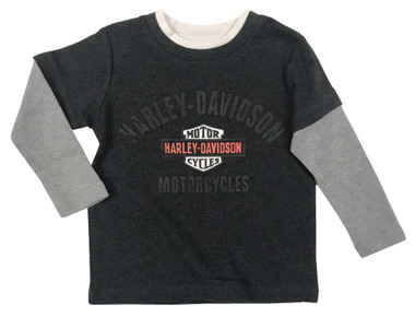 Harley-Davidson Little Boys' B&S Knit Two-Tone Long Sleeve Toddler T-Shirt -Gray - Wisconsin Harley-Davidson