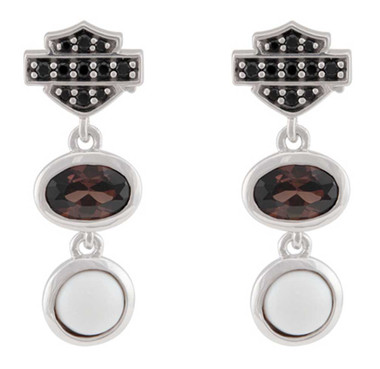 Harley-Davidson Women's Two Stone Cluster B&S Drop Earrings, Sterling Silver - Wisconsin Harley-Davidson