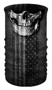 That's A Wrap Patriotic Skull Jaw Multi-Function Reversible Neck Tube Face Cover - Wisconsin Harley-Davidson