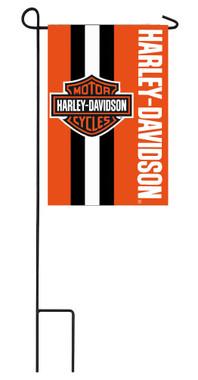 Harley-Davidson Bar & Shield Stitched Garden Flag, 12.5 x 18in - Orange 16SF4900 - Wisconsin Harley-Davidson