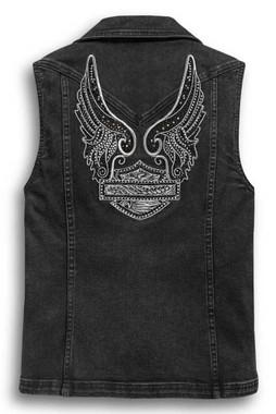 Harley-Davidson Women's Winged Logo Zip-Front Denim Vest - Black 97433-20VW - Wisconsin Harley-Davidson