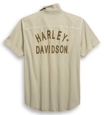 Harley-Davidson Men's Laser Cut Jersey Graphic Woven Shirt - Khaki 96423-20VM - Wisconsin Harley-Davidson