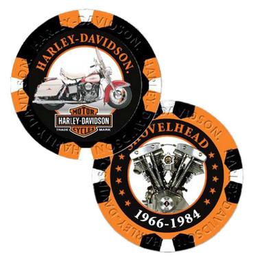 Harley-Davidson Limited Edition Series 6 Poker Chips Pack, Black & Orange 6706 - Wisconsin Harley-Davidson