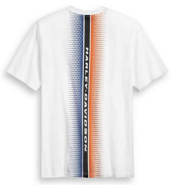 Harley-Davidson Mens Vertical Back Stripe Short Sleeve T-Shirt, White 96387-20VM - Wisconsin Harley-Davidson