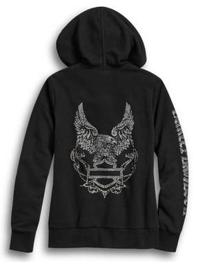 Harley-Davidson Women's Metallic Eagle Logo Full-Zip Hoodie - Black 96420-20VW - Wisconsin Harley-Davidson