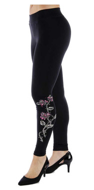Liberty Wear Women's Embellished Barbed Wire & Roses Graphic Leggings - Black - Wisconsin Harley-Davidson