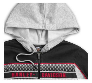 Harley-Davidson Women's Stacked Stripe Colorblock Full-Zip Hoodie 96421-20VW - Wisconsin Harley-Davidson